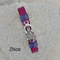 Pulsera Virgen del Pilar Plata, rosa y morado